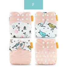 Load image into Gallery viewer, Happyflute Reusable and Washable Eco-Friendly Cloth Nappy Baby Diapers 4pc/set