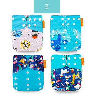 Happyflute Reusable and Washable Eco-Friendly Cloth Nappy Baby Diapers 4pc/set