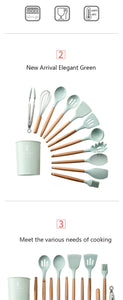 Heat Resistant Non-Stick Silicone Kitchenware Cooking Utensils Set With Storage Box Tools
