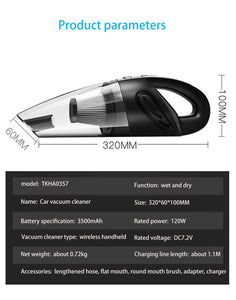 4800pa Strong Power Car Vacuum Cleaner with Handbag | Handheld Cordless Portable Powerful Cyclone Suction Rechargeable Vacuum Cleaner