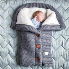 Load image into Gallery viewer, Newborn Baby Winter Warm Sleeping Bags| Infant Button Knit Swaddle Wrap | Swaddling Stroller Wrap | Toddler Blanket Sleeping Bags