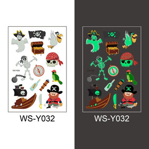 Luminous Temporary Fake Tattoos Glow Paste Mermaid Tattoo Stickers for Children Body Art