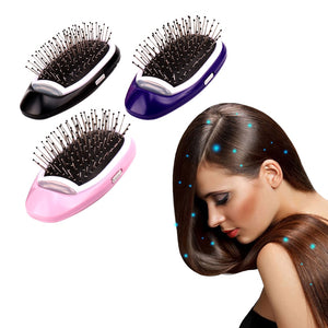 electric hair brush that emits negative ions