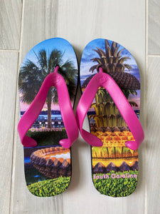 City Feet Charleston Pineapple Fountain with pink straps