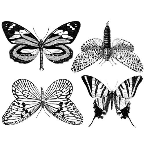 Decal Large Butterflies Black