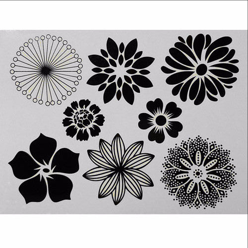 Decal Large Flowers Black High Temp