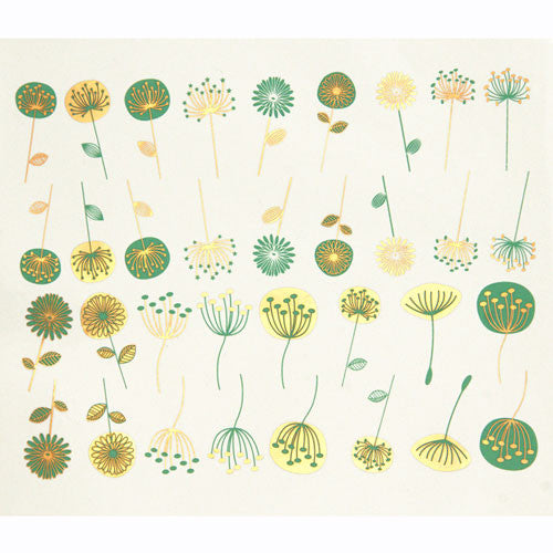 Decal Modern Flowers Gold & Emerald