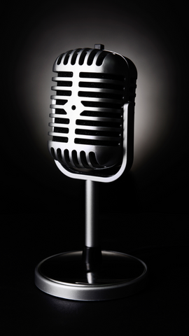 black and white microphone background