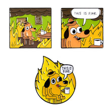 Load image into Gallery viewer, The Radio Nerd | This Is Fine Pins - The Radio Nerd