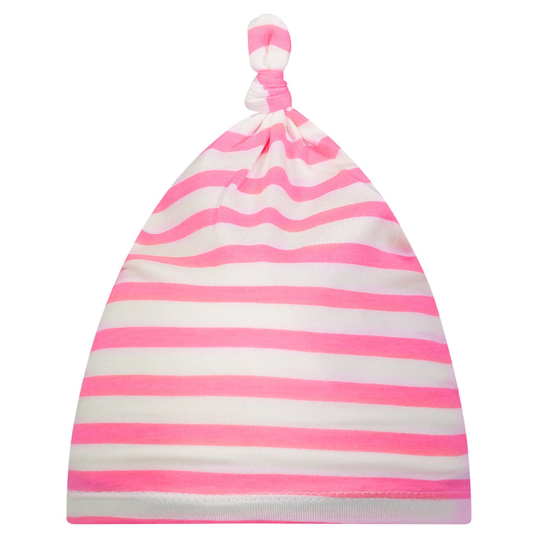 BUBBLEGUM STRIPE BABY KNOTTED HAT