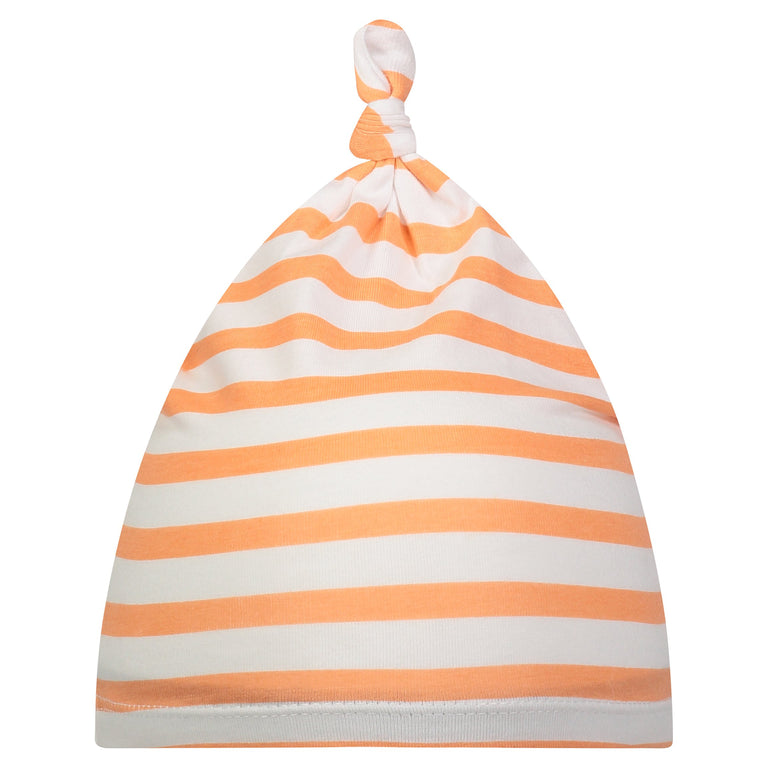 GRAPEFRUIT STRIPE BABY KNOTTED HAT