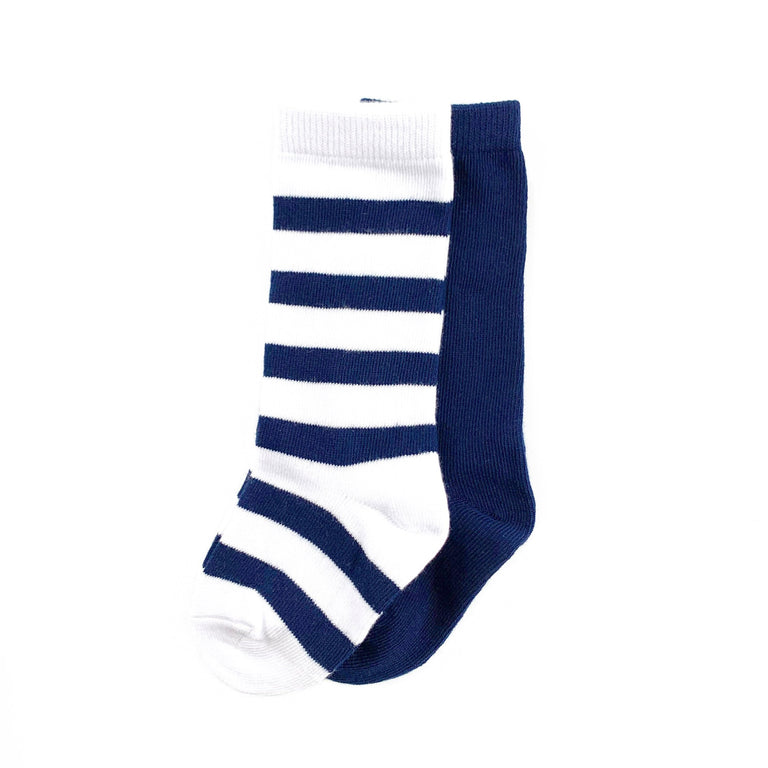NAVY KNEE HIGH SET OF TWO, STRIPE & SOLID PAIR