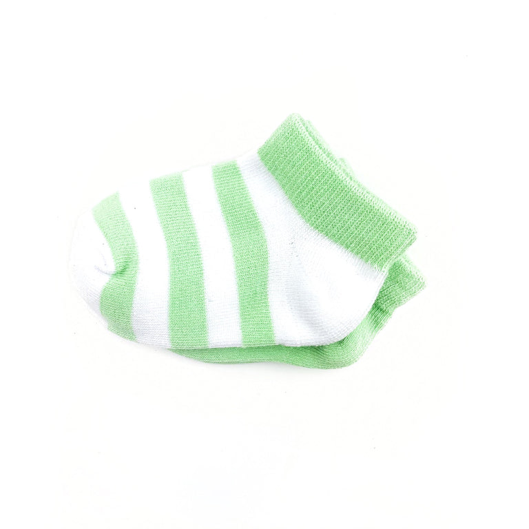 PISTACHIO SHORT SOCK TWO PACK OF STRIPE AND SOLID