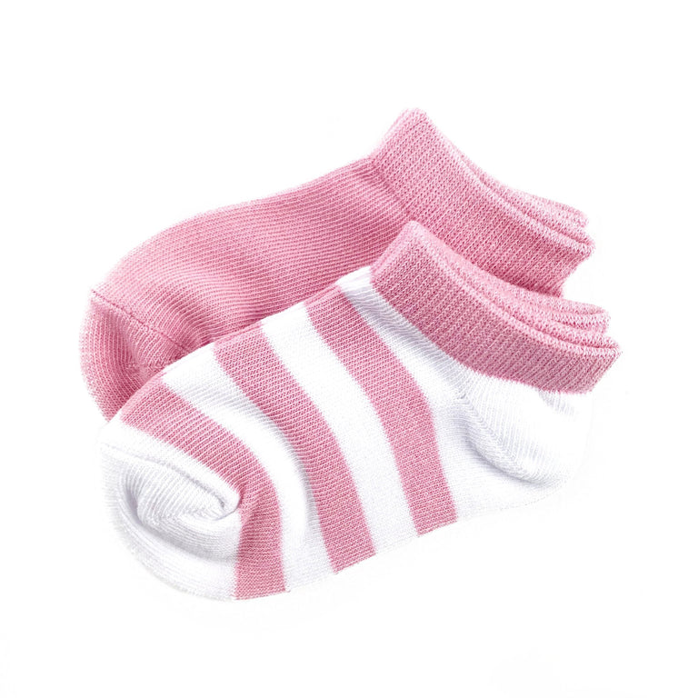 BLUSH CREW SOCK TWO PACK OF STRIPE AND SOLID