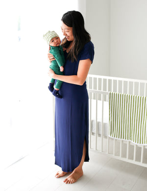NAVY MAMA MAXI DRESS SHOWN ON A MAMA WITH BABY