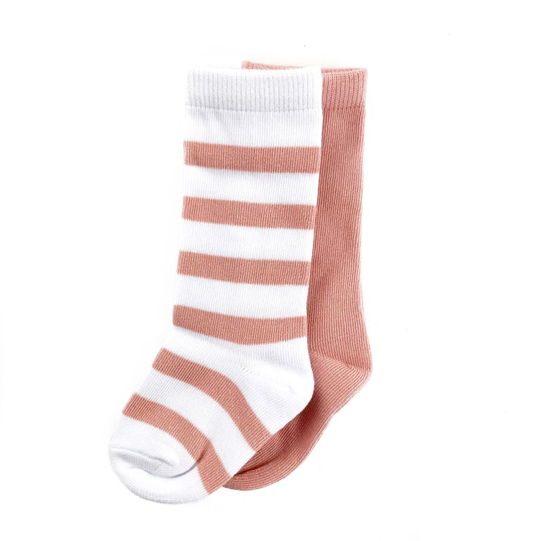 ROSE KNEE HIGH SET OF TWO, STRIPE & SOLID PAIR