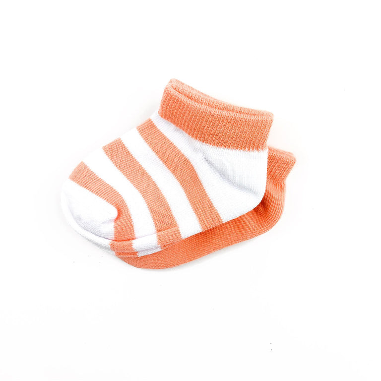 GRAPEFRUIT SHORT SOCK TWO PACK OF STRIPE AND SOLID