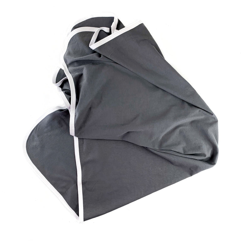 CHARCOAL BASIC BLANKET, SINGLE COTTON BLEND LAYER WITH WHITE BINDING