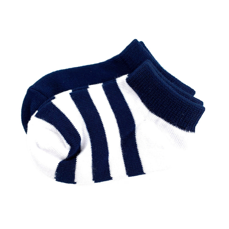 NAVY CREW SOCK SET OF TWO, PAIR OF SOLID AND STRIPE