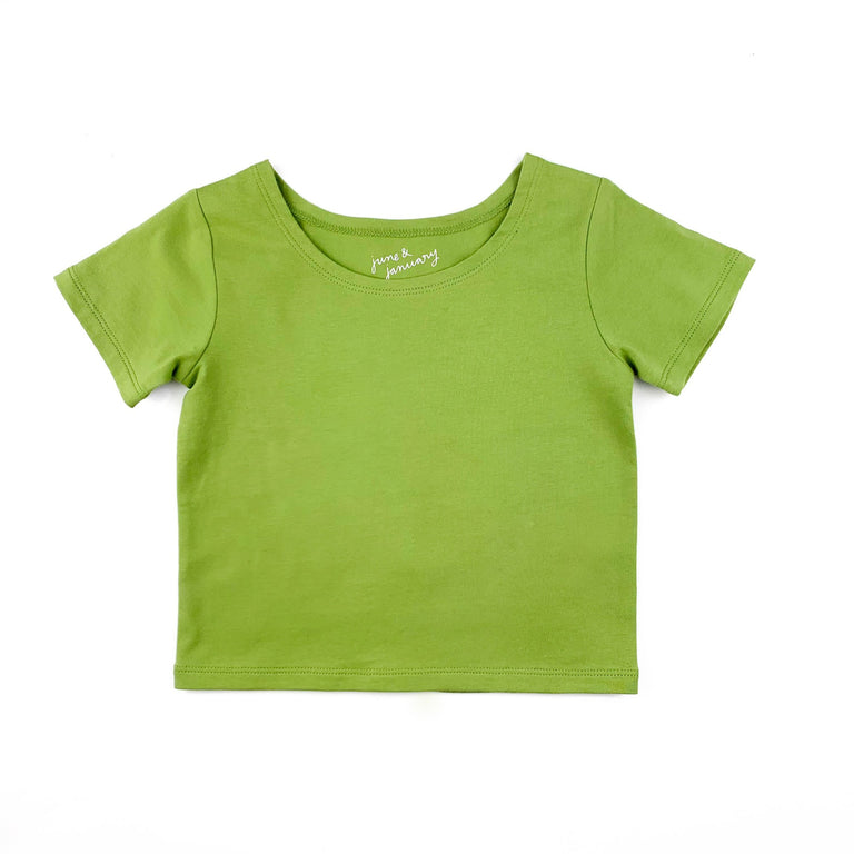 AVOCADO  SHORT SLEEVE BALLET TOP WITH SCOOP NECK