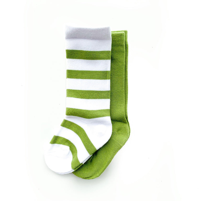 AVOCADO TALL SOCK SET OF TWO, STRIPE & SOLID PAIR
