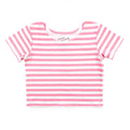 Thumbnail for bubblegum stripe short sleeve ballet top with scoop neck
