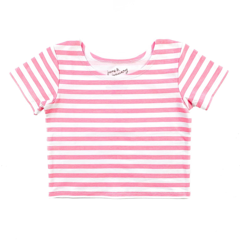 BUBBLEGUM STRIPE SHORT SLEEVE BALLET TOP WITH SCOOP NECK