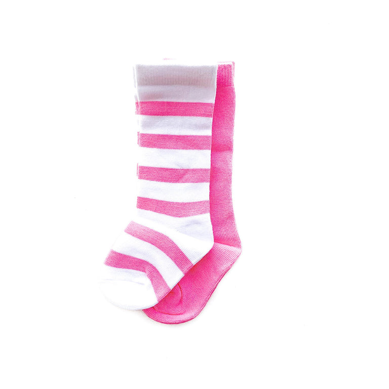 BUBBLEGUM TALL SOCK SET OF TWO, STRIPE & SOLID PAIR