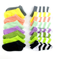 Thumbnail for short socks lined up in solids and stripes on a white background