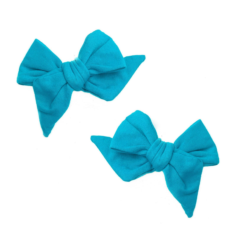 PEACOCK EVERYDAY BOWS SET OF TWO ON CLIPS