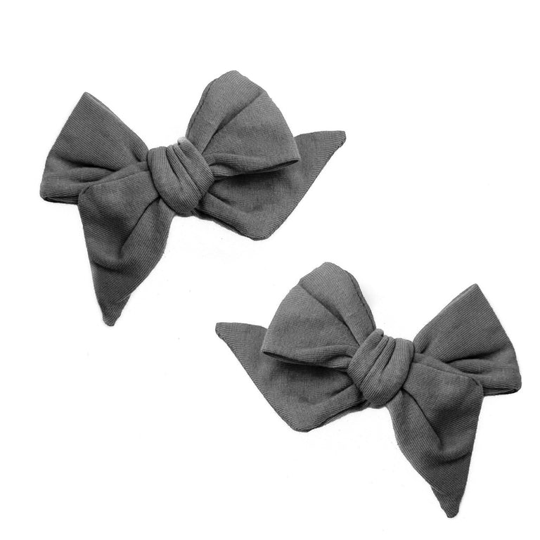 CHARCOAL EVERYDAY BOWS SET OF TWO ON CLIPS