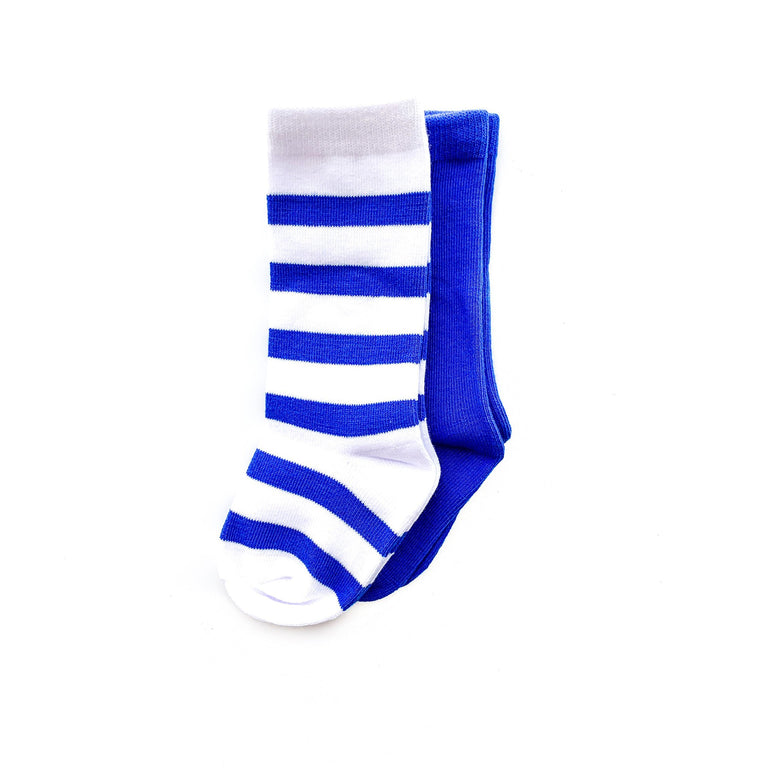 COBALT TALL SOCK SET OF TWO, STRIPE & SOLID PAIR
