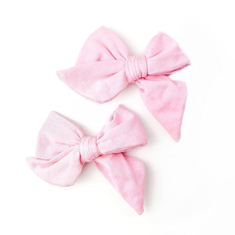 BLUSH EVERYDAY BOWS SET OF TWO ON CLIPS