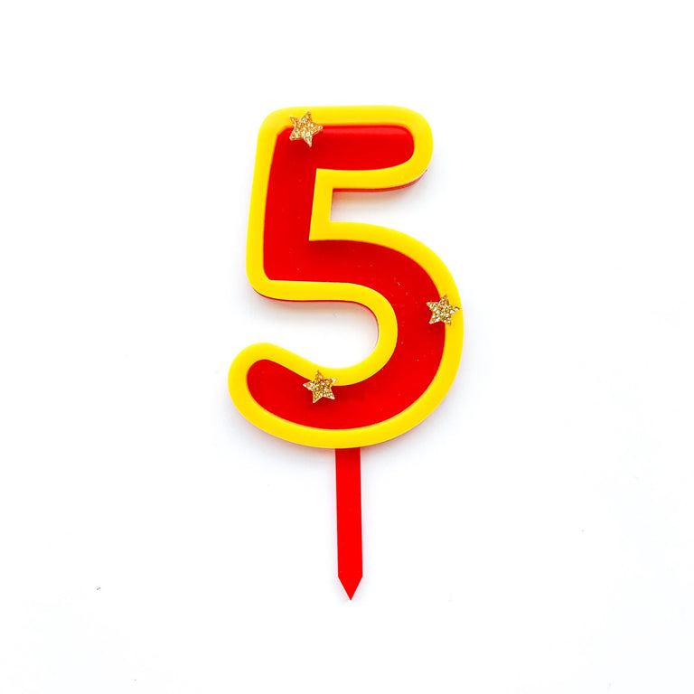 Eleanor Moss Number Cake Topper 5 // Red