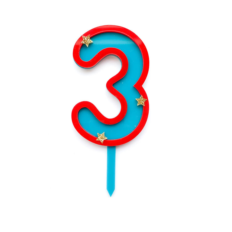 Eleanor Moss Number Cake Topper 3 // Teal + Poppy