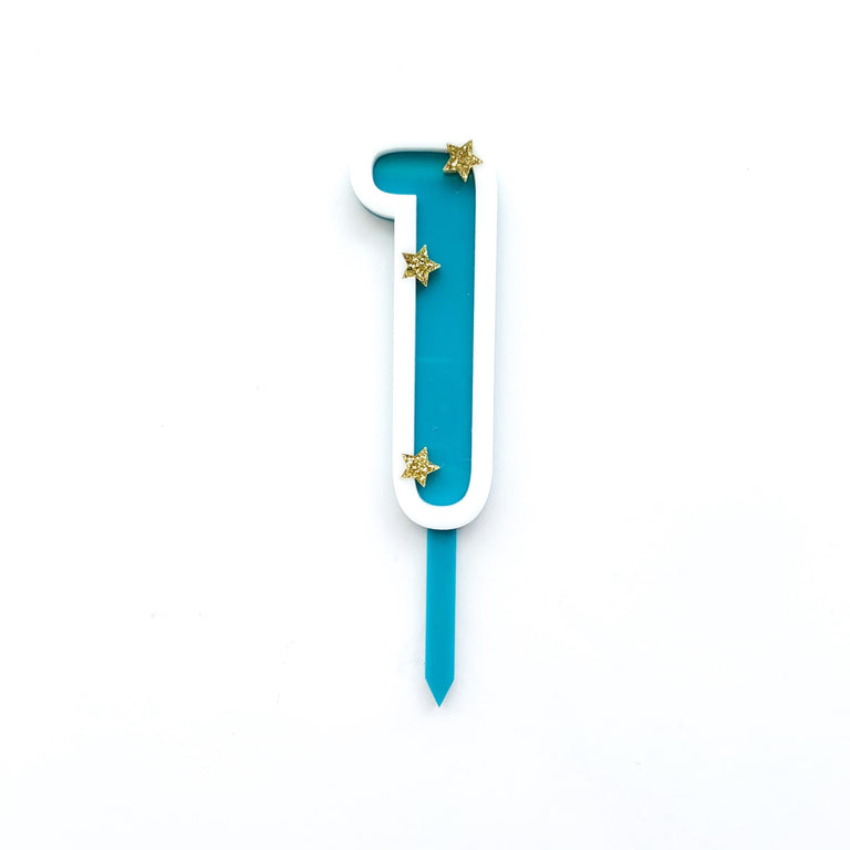 Eleanor Moss Number Cake Topper 1 // Teal