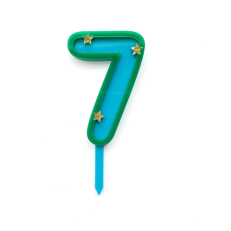 Eleanor Moss Number Cake Topper 7 // Teal