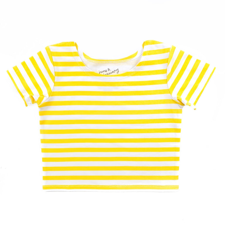LEMON STRIPE SHORT SLEEVE BALLET TOP WITH SCOOP NECK