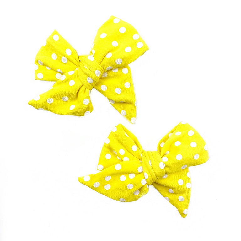 LEMON WITH SNOW DOT EVERYDAY BOWS, SOLD IN A SET OF TWO