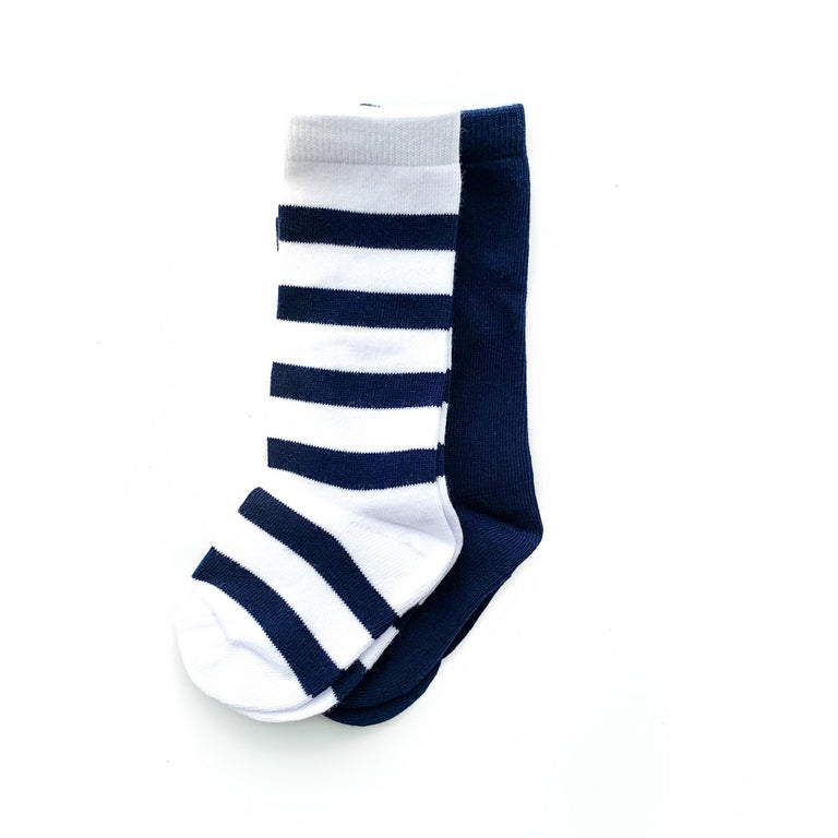 ONYX TALL SOCK SET OF TWO, STRIPE & SOLID PAIR