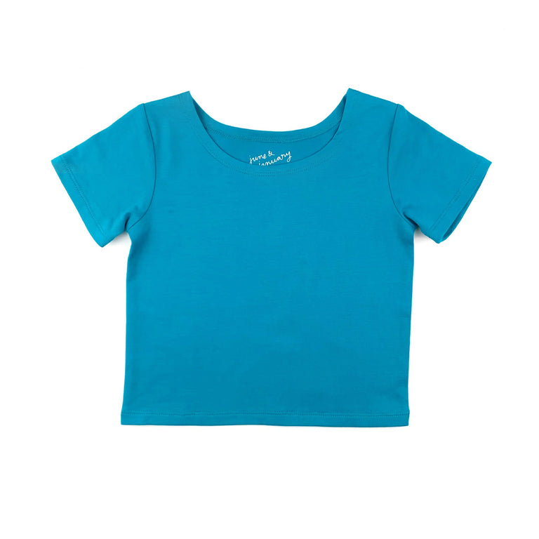 PEACOCK SHORT SLEEVE BALLET TOP WITH SCOOP NECK