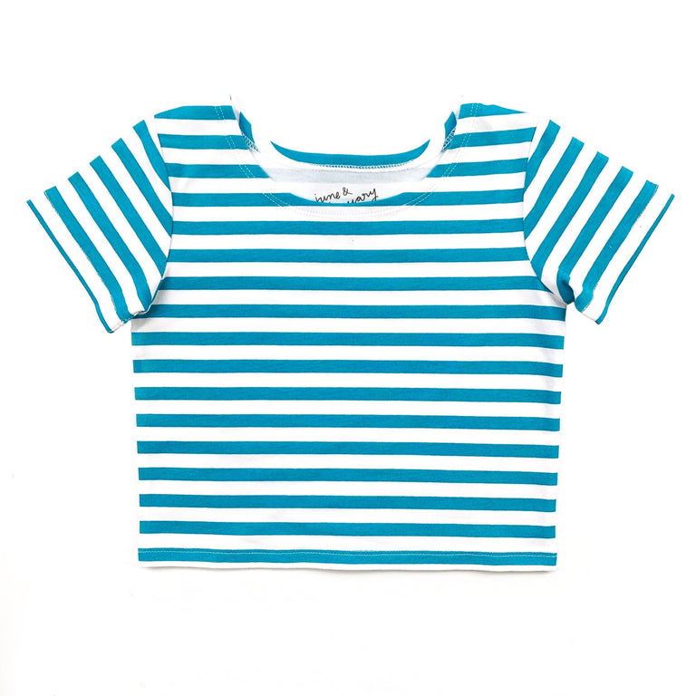 PEACOCK STRIPE SHORT SLEEVE BALLET TOP WITH SCOOP NECK