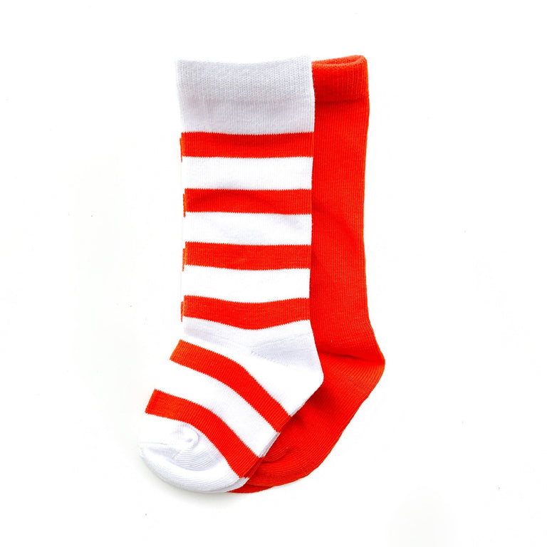 POPPY TALL SOCK SET OF TWO, STRIPE & SOLID PAIR