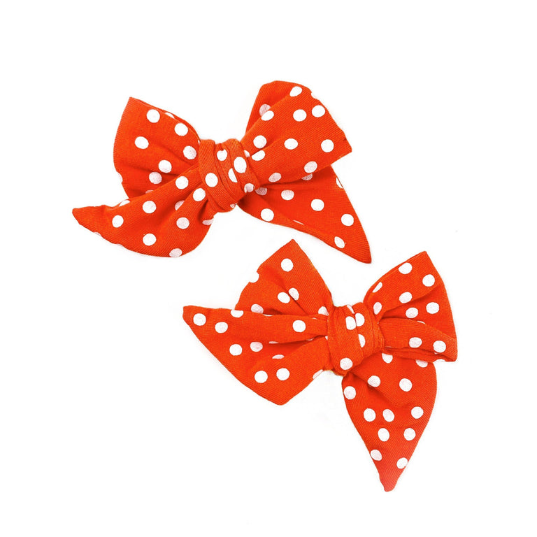 POPPY WITH SNOW DOT EVERYDAY BOWS SET OF TWO ON CLIPS