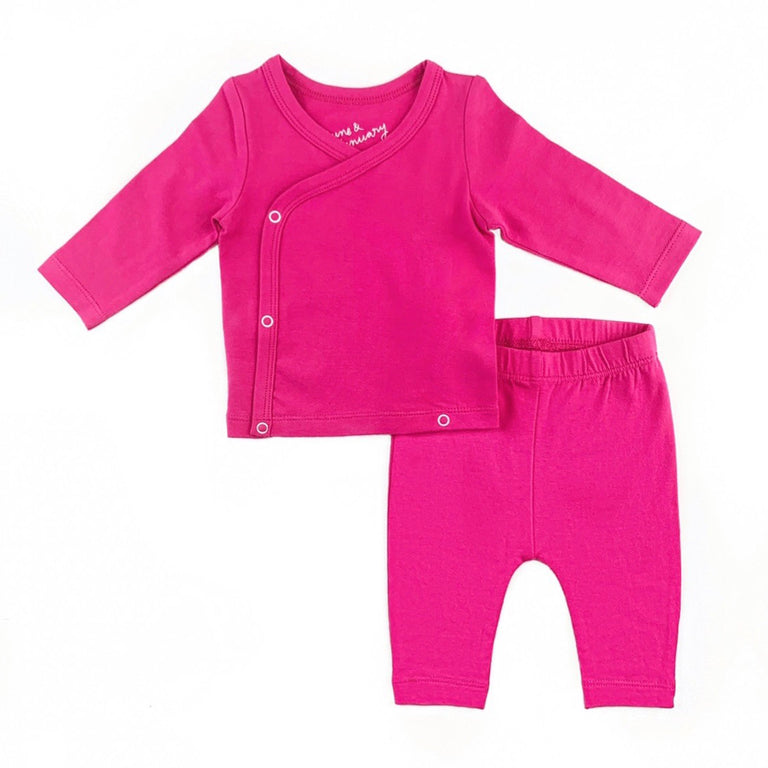 RASPBERRY COMING HOME SET, SNAP TOP WITH MATCHING CROPPED LEGGING
