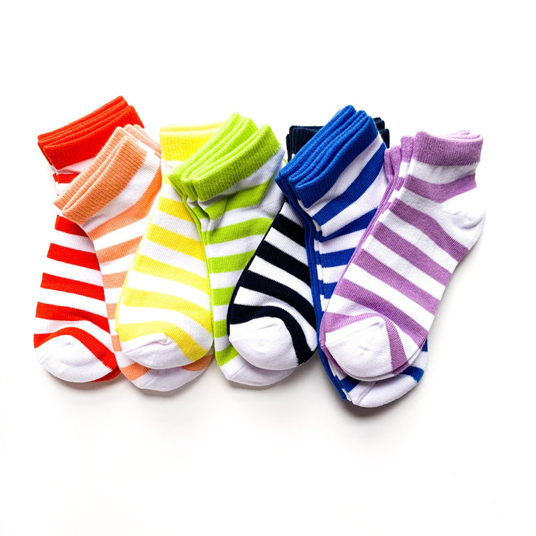 ROYGBIV BUNDLE OF POPPY GRAPEFRUIT LEMON WASABI NAVY COBALT AND VIOLET SHORT SOCKS LINED UP