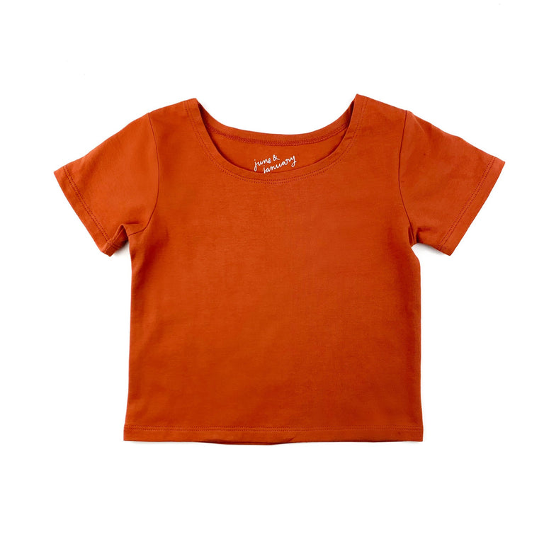 RUST  SHORT SLEEVE BALLET TOP WITH SCOOP NECK