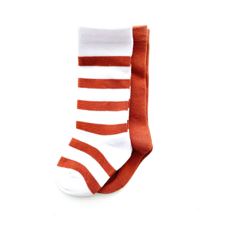RUST TALL SOCK SET OF TWO, STRIPE & SOLID PAIR
