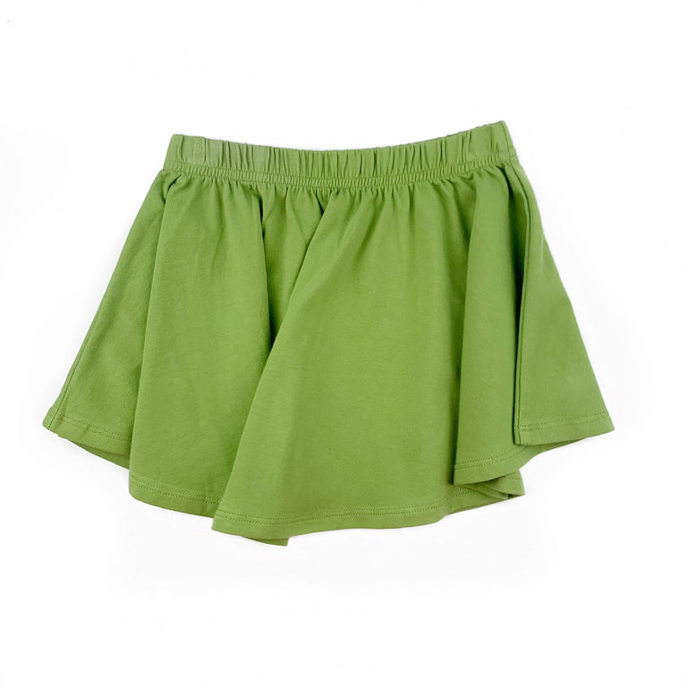 AVOCADO SKIRT WITH ELASTIC WAIST AND CURVED HEM