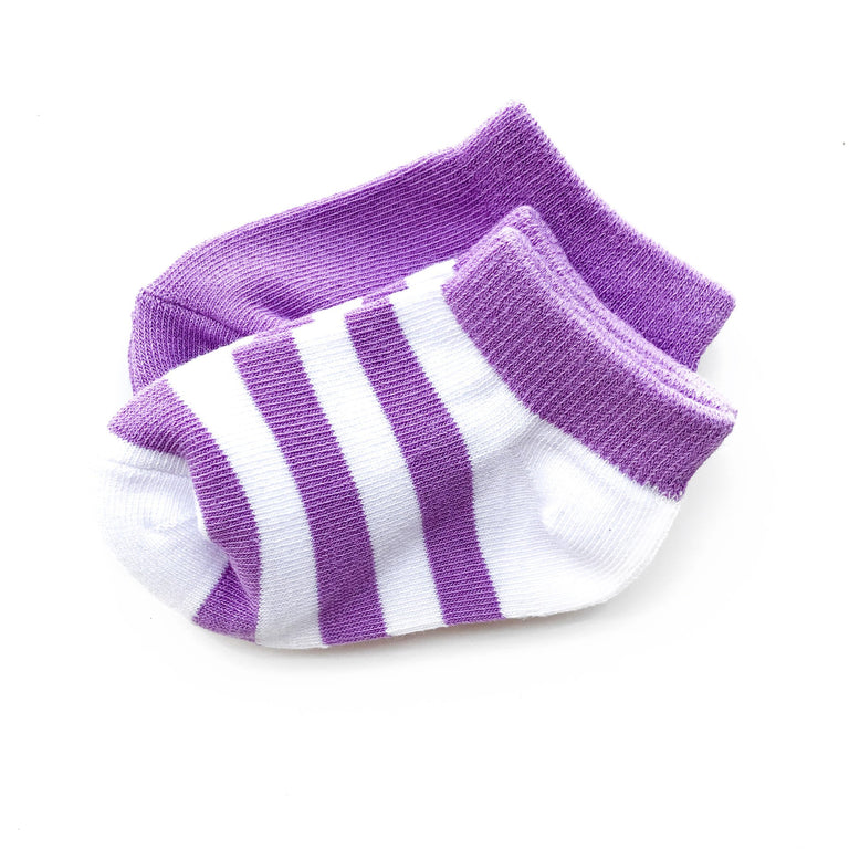 VIOLET SHORT SOCK TWO PACK OF STRIPE AND SOLID